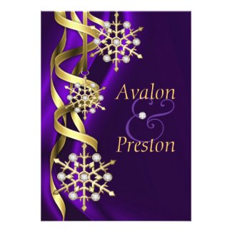 Gilded Jubilee Snowflake Purple Invitation