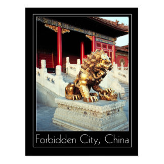 Gilded Lion & Cub, Forbidden City, Beijing, China Postcard