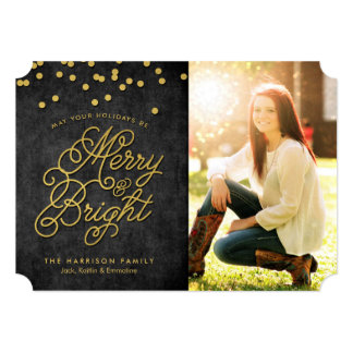 Gilded Merry & Bright Christmas Holiday Card Announcement