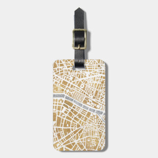 Gilded Paris Map 6 Luggage Tag