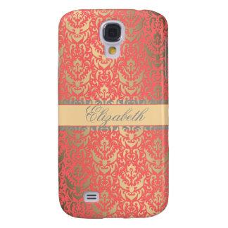 Gilded Peach Elegant Faux Shimmer Damask Galaxy S4 Case