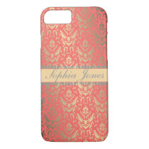 Gilded Peach Elegant Faux Shimmer Damask iPhone 7 Case
