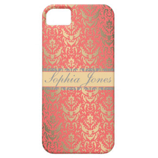 Gilded Peach Elegant Faux Shimmer Damask iPhone SE/5/5s Case