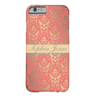 Gilded Peach Elegant Faux Shimmer Damask iPhone 6 Case