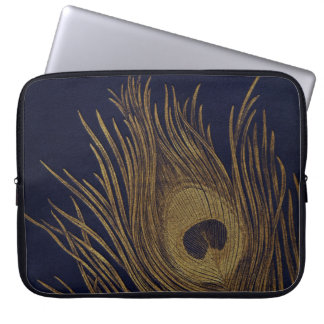 Gilded Peacock Feather On Royal Blue Laptop Sleeves
