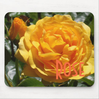 Gilded Pink Rose Bud Mouse Pad