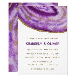 Purple Gilt Agate Wedding Invitations