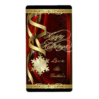 Gilded Red Snowflake Dreams Holiday Wine Label
