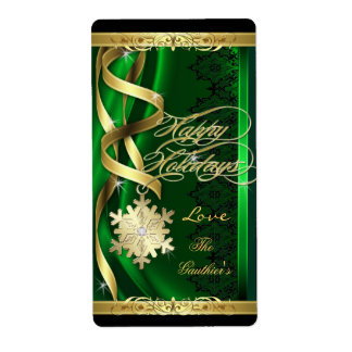 Gilded Snowflake Dreams Green Holiday Wine Label