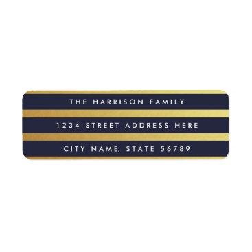 Christmas Themed Gilded Stripes Custom Color Return Address Labels