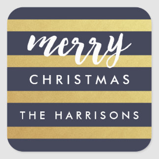 Gilded Stripes Personalized Holiday Stickers