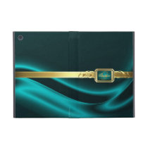 Gilded Teal Monogram Silk Ipad Mini Case