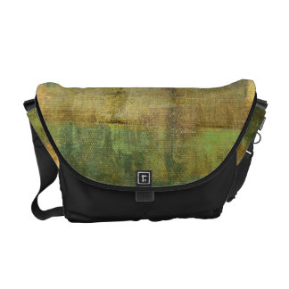 Gilded Turquoise and Green Abstract Painting Courier Bag