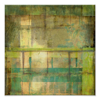 Gilded Turquoise and Green Abstract Painting Poster