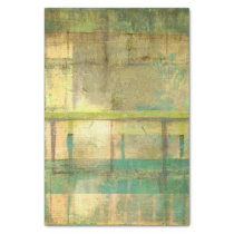 Gilded Turquoise and Green Abstract Painting Tissue Paper
