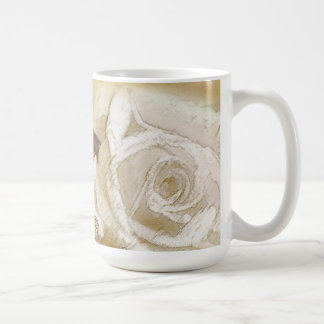 Gilded Watercolor White Roses & Gold Filigree Coffee Mug