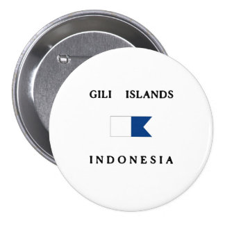 Gili Islands Indonesia Alpha Dive Flag Pinback Button