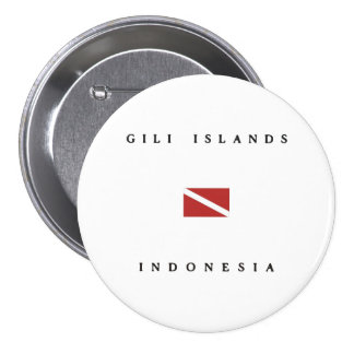 Gili Islands Indonesia Scuba Dive Flag Buttons