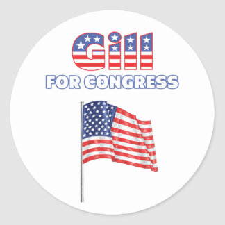 Gill for Congress Patriotic American Flag Round Sticker