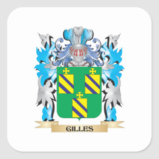 Gilles Coat of Arms - Family Crest Square Stickers