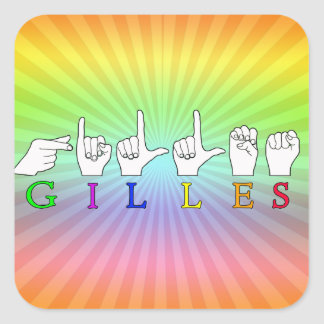 GILLES NAME FINGERSPELLED ASL HAND SIGN STICKERS