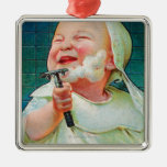 Gillette Safety Razor - Begin Early Shave Square Metal Christmas Ornament