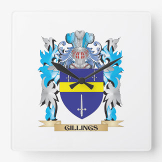 Gillings Coat of Arms - Family Crest Square Wall Clocks