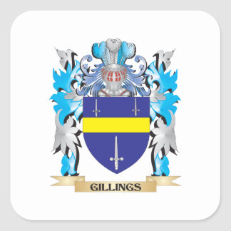 Gillings Coat of Arms - Family Crest Square Sticker
