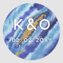 Gilt Agate Wedding Invitation Classic Round Sticker