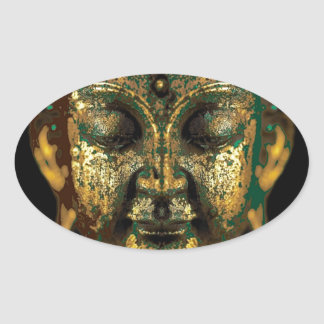 Gilt Antique Buddha Face Gifts by Sharles Oval Sticker