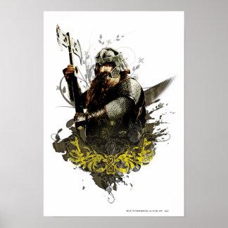 Gimli con collage del vector del hacha póster