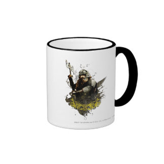 Gimli With Ax Vector Collage Ringer Coffee Mug