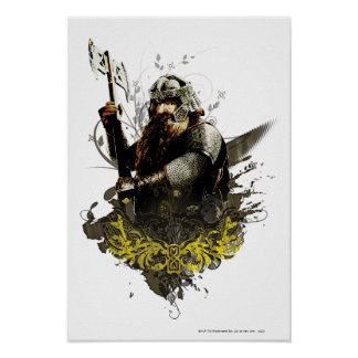 Gimli With Ax Vector Collage Poster