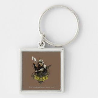 Gimli With Ax Vector Collage Silver-Colored Square Keychain