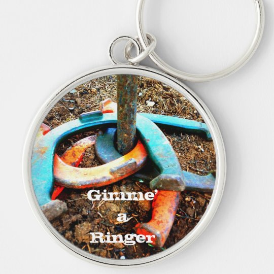Gimme' a Ringer Horseshoe Pitching Gifts Keychain