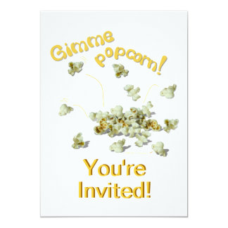 Gimme Popcorn Party Invitation Card Template