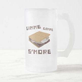 Gimme S'more 16 Oz Frosted Glass Beer Mug