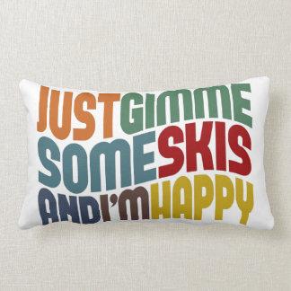 Gimme Some Skis Throw Pillow