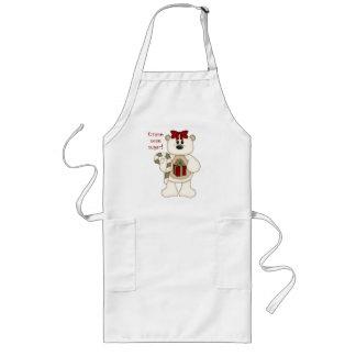 Gimme some sugar!-Cute White Christmas Bear Long Apron