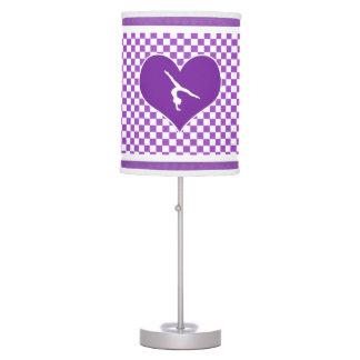 Gimnasia a cuadros púrpura preciosa lámpara de escritorio