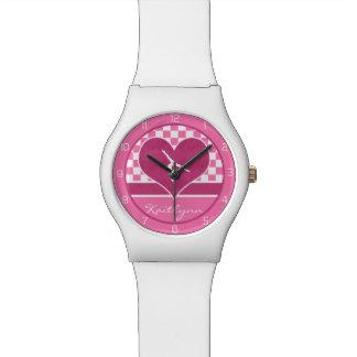 Gimnasia a cuadros rosada bonita con el monograma relojes de mano