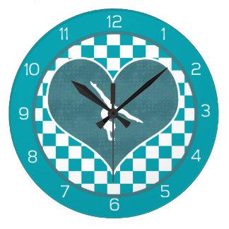 Gimnasia a cuadros verde del trullo reloj redondo grande