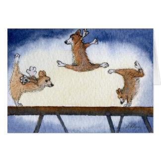 Gimnasia artística del perro del Corgi Galés Tarjeta De Felicitación