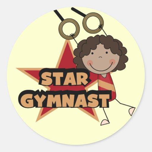 GIMNASIA - camisetas y regalo del gimnasta de la Pegatina Redonda