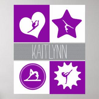 Gimnasia de los cuadrados de la púrpura 4 con el póster