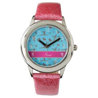 Gimnasia de plata conocida personalizada del azul reloj de mano