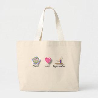 Gimnasia del amor de la paz bolsa de tela grande