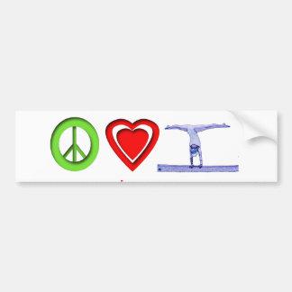 Gimnasia del amor de la paz pegatina para auto