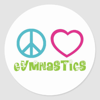 Gimnasia del amor de la paz etiquetas redondas