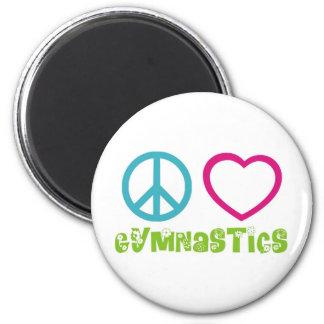 Gimnasia del amor de la paz imán redondo 5 cm